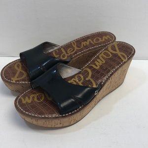 Sam Edelman Reid Black Faux Patent Cork Wedge